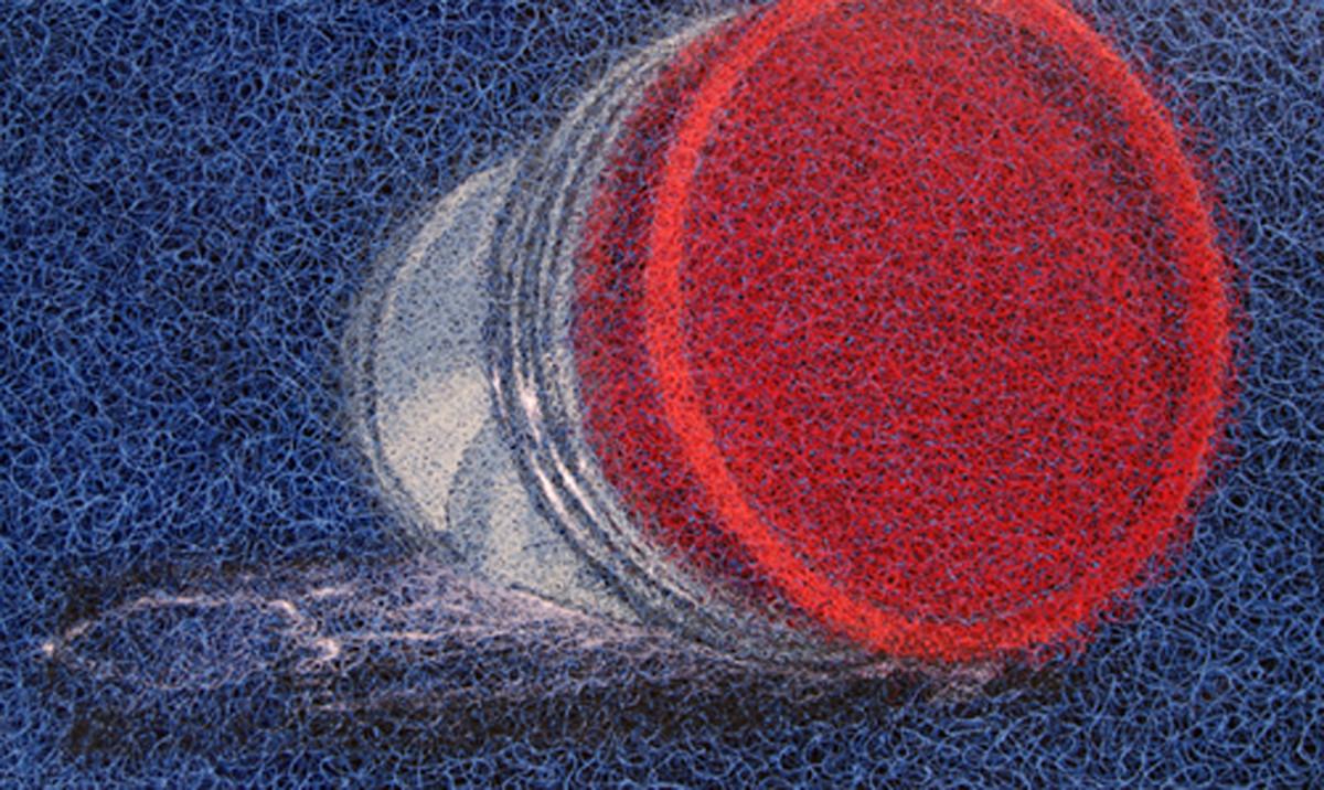 Super Fabric 3 by Vrushaket Salaskar, Art Deco Painting, Acrylic on Canvas, Blue color