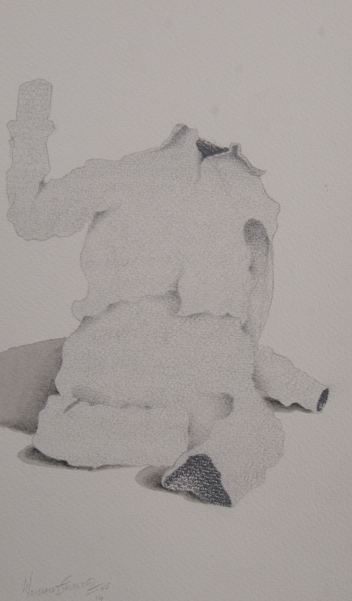 Maya12 by Vrushaket Salaskar, Illustration Drawing, Charcoal on Paper, Gray color