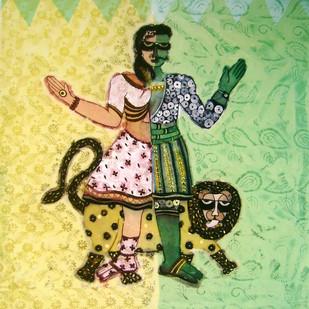 Ardhnareshvar by Sonal Varshneya, Conceptual Printmaking, Etching on Paper, Beige color