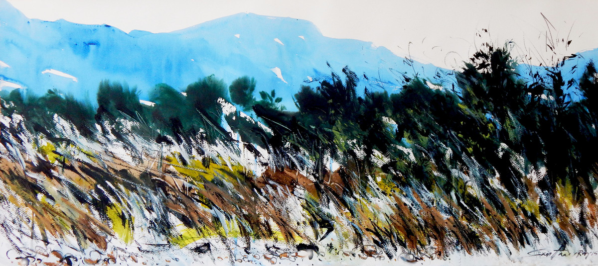 Magical landscape ii by Santanu Roy, Impressionism Painting, Watercolor on Paper, Gray color