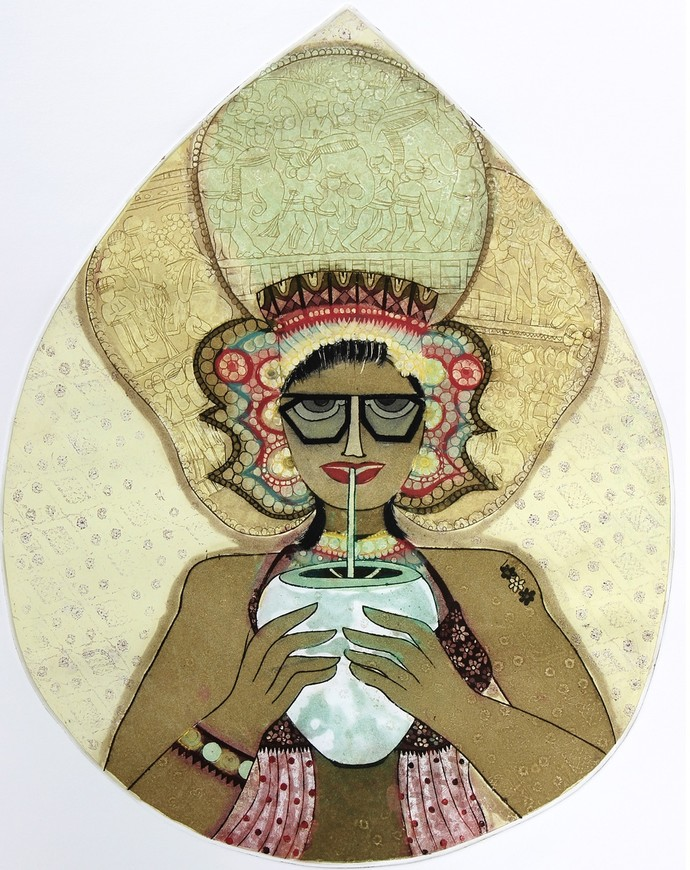 Desi Flavour by Sonal Varshneya, Illustration Printmaking, Etching on Paper, Beige color
