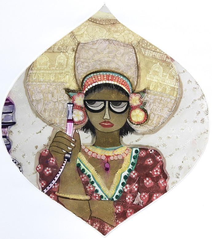 Fashion by Sonal Varshneya, Illustration Printmaking, Etching on Paper, Beige color