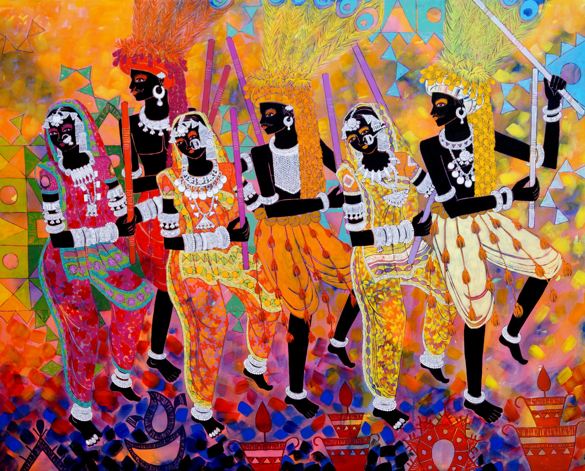 Ethnic Serendipity 57 by Anuradha Thakur, Traditional Painting, Acrylic on Canvas, Brown color