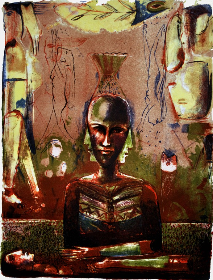 Intruder by Neeraj Singh Khandka , Expressionism Printmaking, Lithography on Paper, Brown color