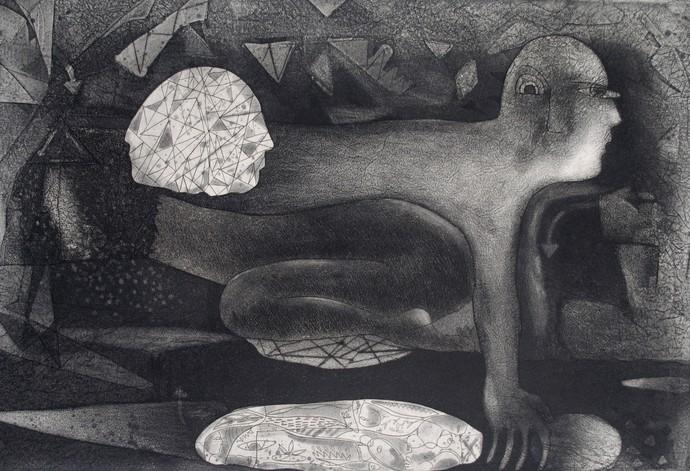 Metamorphosis by Neeraj Singh Khandka , Expressionism Printmaking, Etching on Paper, Gray color