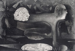 Metamorphosis by Neeraj Singh Khandka , Expressionism Printmaking, Etching on Paper, Gray color