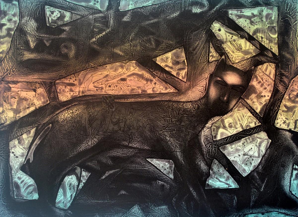 Metamorphosis by Neeraj Singh Khandka , Illustration Printmaking, Etching on Paper, Brown color