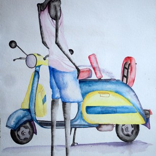 Untitled by Sandeep Manchakal, Decorative Painting, Watercolor on Paper, Cyan color