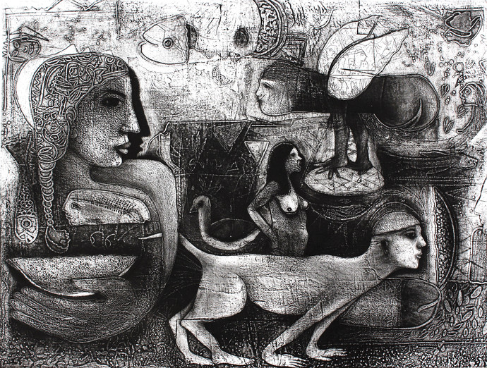 Intruder - II by Neeraj Singh Khandka , Expressionism Printmaking, Lithography on Paper, Gray color