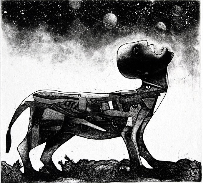 Fear for Future by Neeraj Singh Khandka , Conceptual Printmaking, Lithography on Paper, Gray color