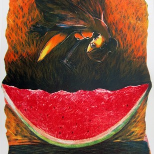 Seduction by Neeraj Singh Khandka , Expressionism Printmaking, Lithography on Paper, Brown color