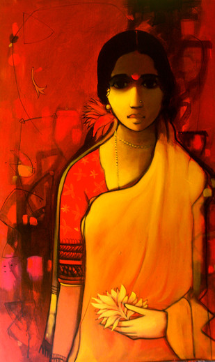 Woman with Flower 1 by Sachin Sagare, Traditional Painting, Acrylic on Canvas, Red color