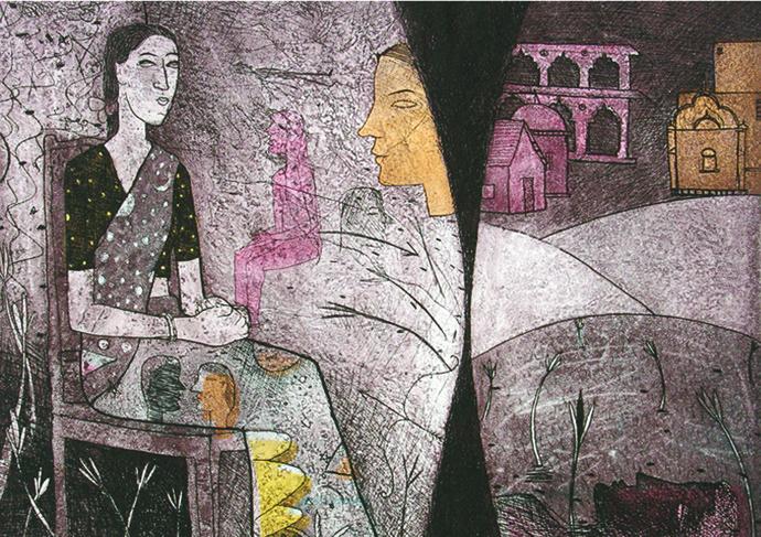 Woman in Dream by Chippa Sudhakar, Conceptual Printmaking, Etching on Paper, Brown color