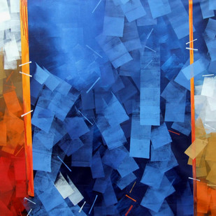 Blues Abstract by Sudhir Talmale, Abstract Painting, Oil on Canvas, Blue color