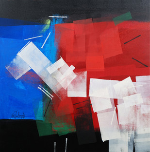 Abstract Reflection by Sudhir Talmale, Abstract Painting, Oil on Canvas, Blue color