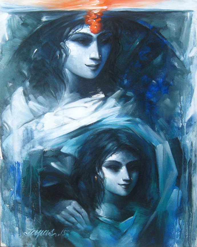 Affection by Tapas Sardar, Expressionism Painting, Acrylic on Canvas, Blue color