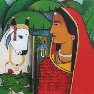 Radha And Surabhi In Vrindavan by Ashok Rathod, Art Deco Painting, Acrylic on Canvas, Green color