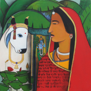Radha And Surabhi In Vrindavan by Ashok Rathod, Decorative Painting, Acrylic on Canvas, Green color