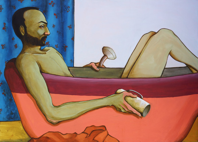 Bathroom Philosophy by Viraj Jaulkar, Conceptual Painting, Acrylic on Canvas, Brown color