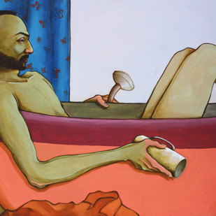 Bathroom Philosophy by Viraj Jaulkar, Conceptual Painting, Acrylic on Canvas, Brown color