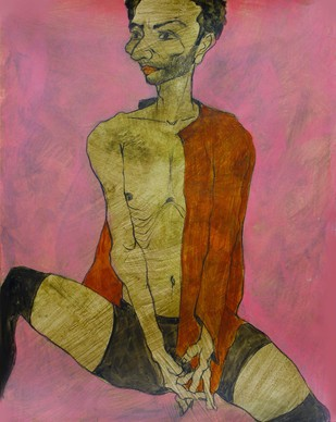 Even-handed by Viraj Jaulkar, Conceptual Painting, Mixed Media on Paper, Brown color