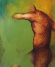 Restless by Viraj Jaulkar, Conceptual Painting, Acrylic on Canvas, Green color
