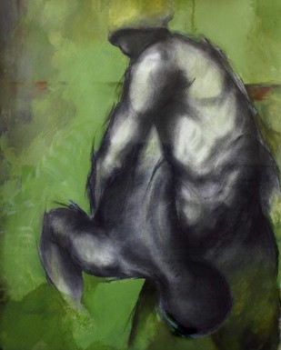 Depart by Viraj Jaulkar, Conceptual Painting, Mixed Media on Paper, Green color