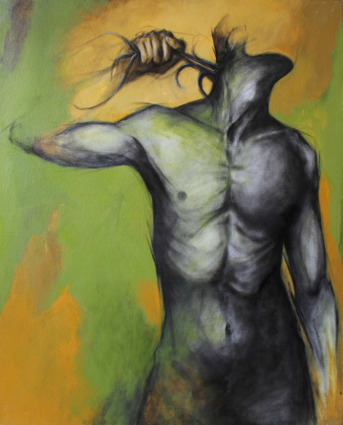 Cleaning out by Viraj Jaulkar, Conceptual Painting, Mixed Media on Canvas, Green color
