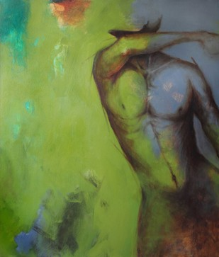 Shimmering by Viraj Jaulkar, Conceptual Painting, Acrylic on Canvas, Green color