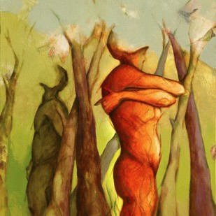 Growing Together - III by Viraj Jaulkar, Conceptual Painting, Acrylic on Canvas, Brown color