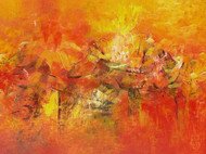 Distant View by M Singh, Impressionism Painting, Acrylic on Canvas, Orange color