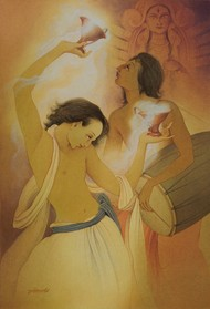Festival Dance II by Rajib Gain, Realism Painting, Watercolor Wash on Paper, Brown color