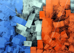 Abstract Reflection 12 by Sudhir Talmale, Abstract , Oil on Canvas, Blue color