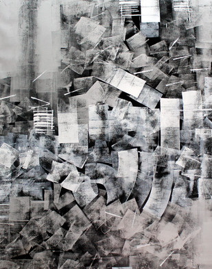 Black & Grey Abstract by Sudhir Talmale, Abstract , Oil on Canvas, Gray color