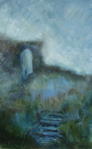 Landscape by Vivek Nimbolkar, Impressionism Painting, Watercolor on Paper, Green color