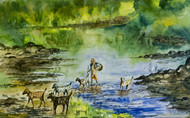 Landscape 1 by Vivek Nimbolkar, Impressionism Painting, Watercolor on Paper, Green color