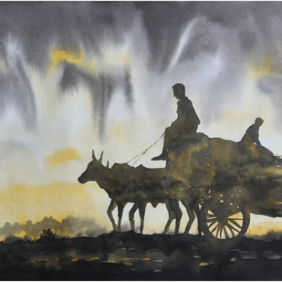 Landscape by Vivek Nimbolkar, Impressionism Painting, Watercolor on Paper, Gray color