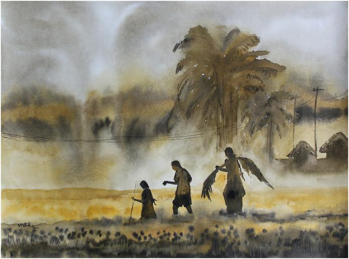 Landscape by Vivek Nimbolkar, Impressionism Painting, Watercolor on Paper, Brown color