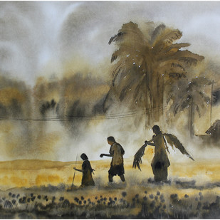 Landscape by Vivek Nimbolkar, Impressionism Painting, Watercolor on Paper, Brown color