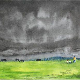 Landscape by Vivek Nimbolkar, Impressionism Painting, Watercolor on Paper, Gray color