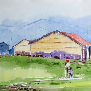 Landscape by Vivek Nimbolkar, Impressionism Painting, Watercolor on Paper, Cyan color