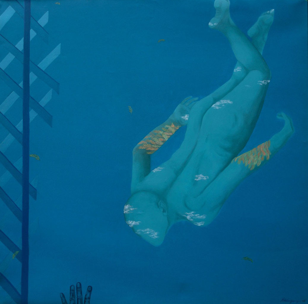 Leaping into the New Horizon by Arunima Sanyal, Conceptual Painting, Acrylic on Canvas, Blue color