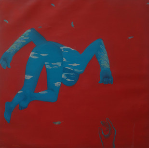 Red can be the Worst Universe by Arunima Sanyal, Conceptual Painting, Acrylic on Canvas, Red color