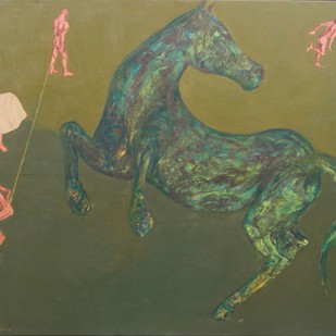 Shadow Of A Fright by Arunima Sanyal, Conceptual Painting, Acrylic on Canvas, Green color