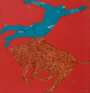 Red can be the Worst by Arunima Sanyal, Conceptual Painting, Acrylic on Canvas, Red color