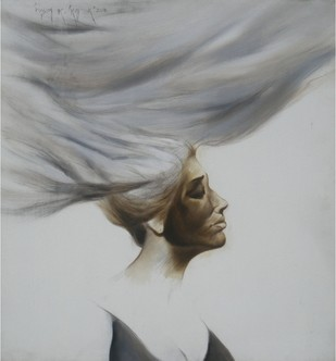 Untitled by Wasim R Kapoor, Realism Painting, Oil on Canvas, Gray color