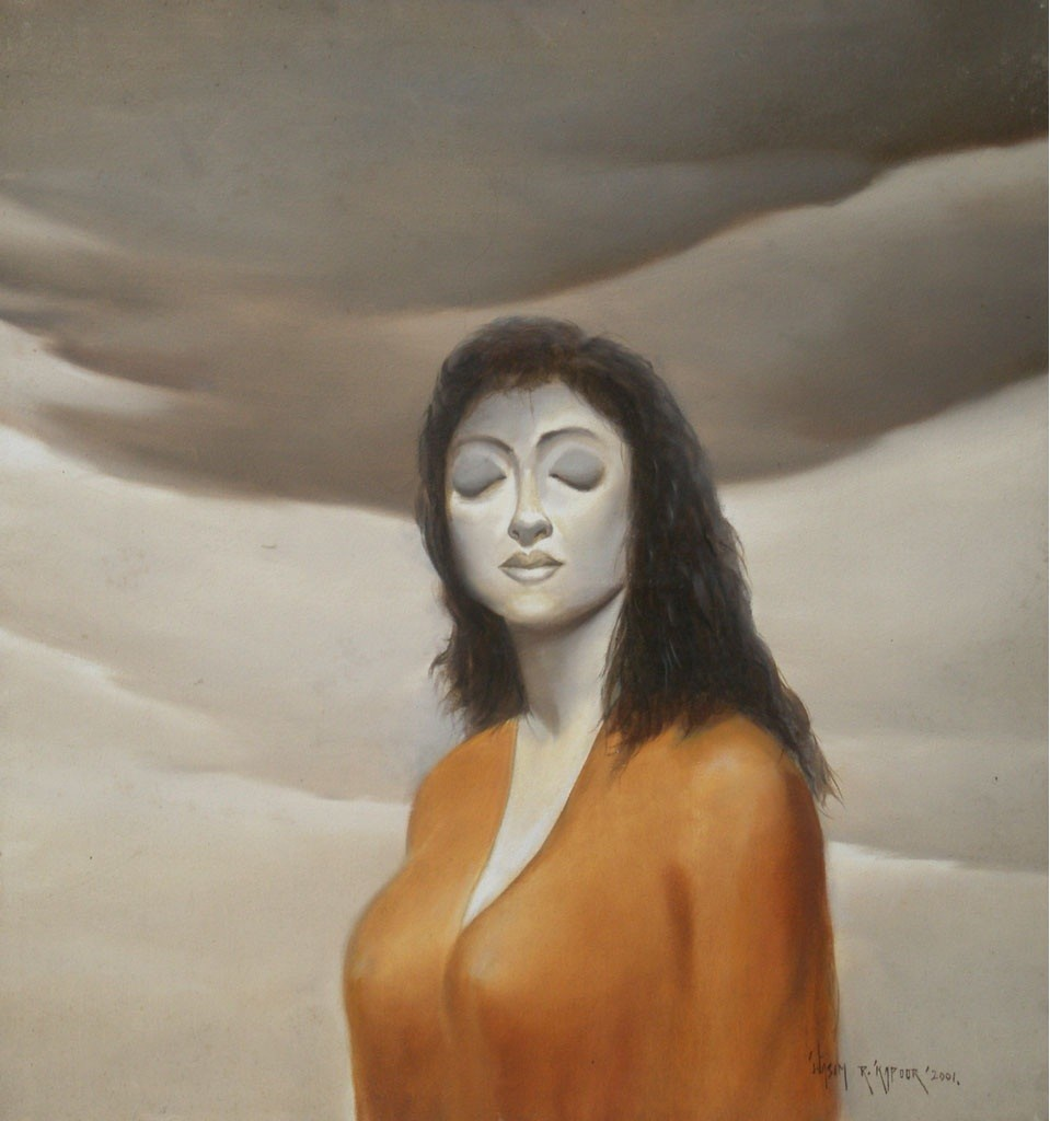 Untitled by Wasim R Kapoor, Realism Digital Art, Oil on Canvas, Brown color