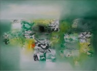 Green Abastract by Harendra Shah, Abstract , Oil on Canvas, Green color