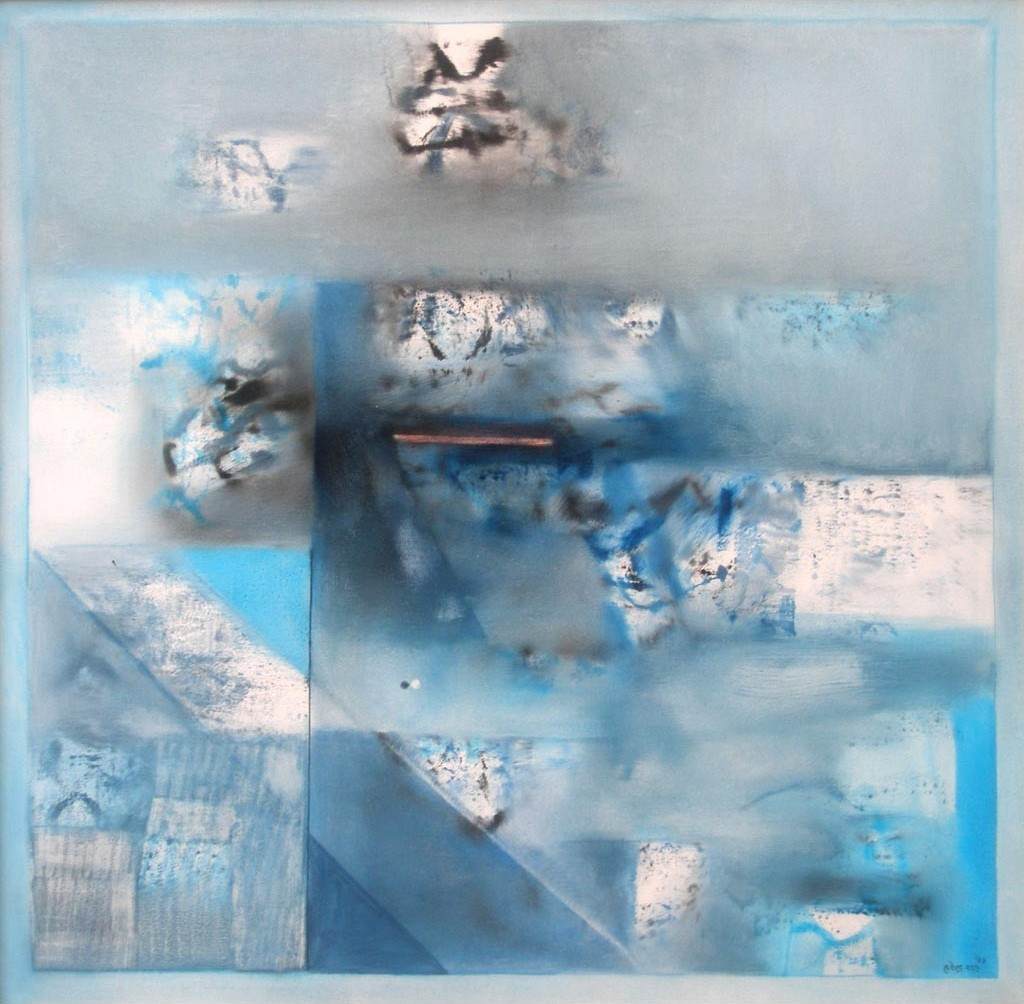 Blue Abstract I by Harendra Shah, Abstract , Oil on Canvas, Cyan color