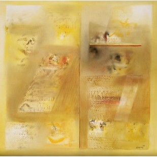 Yellow Abstract II by Harendra Shah, Abstract , Oil on Canvas, Beige color